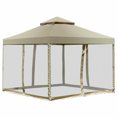 FastFurnishings 10 x 10 Ft Outdoor Gazebo with Tan Brown Polyester Canopy and Mesh Side Walls