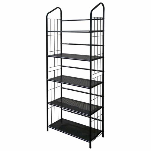 FastFurnishings 5-Tier Bookcase Storage Shelves Rack in Black Metal