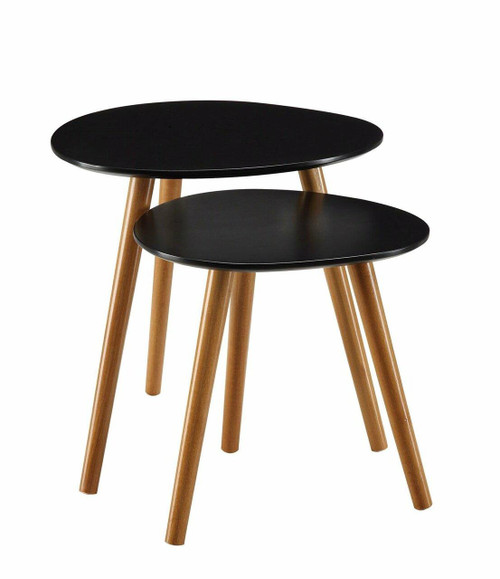 FastFurnishings Set of 2 - Modern Mid-Century Style Nesting Tables End Table in Black