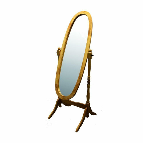 FastFurnishings Classic Oval Cheval Floor Mirror with Natural Wood Finish Frame