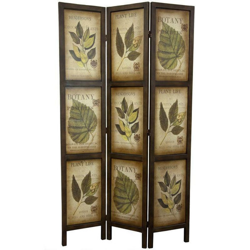 FastFurnishings 3-Panel Double Sided Floral Botany Plant Life Floral Leaves Room Divider