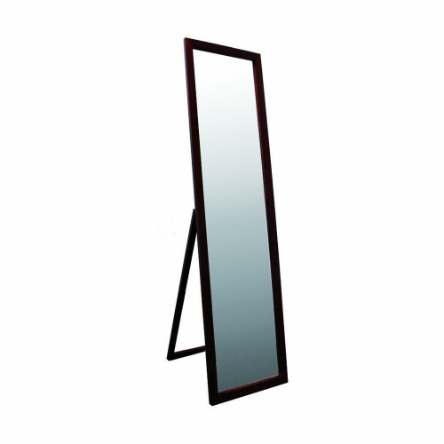 FastFurnishings Modern Freestanding Bedroom Floor Mirror in Walnut Finish