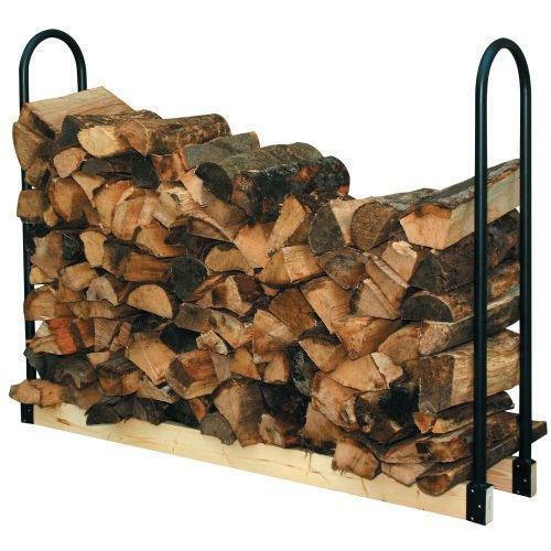FastFurnishings Adjustable Length Firewood Log Rack for Indoor or Outdoor Use