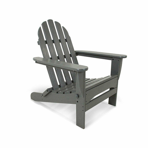 FastFurnishings Outdoor All-Weather Folding Adirondack Chair in Gray Wood Finish - Made in USA