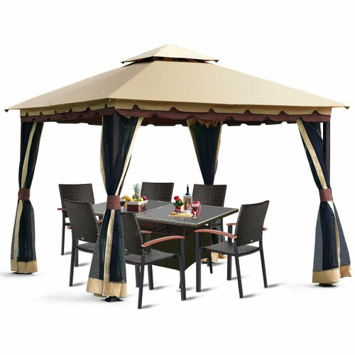 FastFurnishings 10 x 10 Ft Outdoor Gazebo with Taupe Brown Vented Canopy and Mesh Side Walls