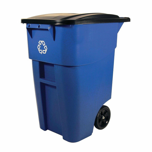 FastFurnishings 50 Gallon Blue Commercial Heavy-Duty Rollout Recycler Trash Can Container