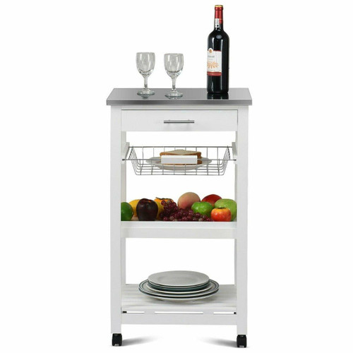 FastFurnishings White Kitchen Cart with Storage Drawer and Stainless Steel Top