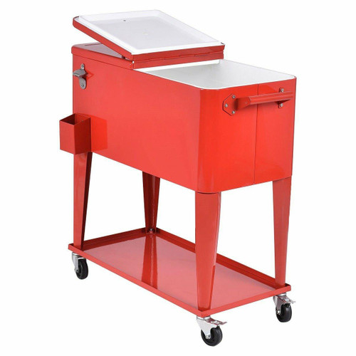 FastFurnishings 80 Quart Red Sturdy Rolling Steel Construction Cooler