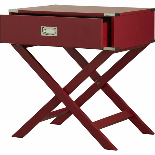 FastFurnishings Modern 1-Drawer French Dovetail End Table Nightstand in Red Wood