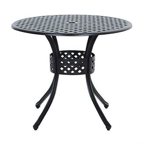 FastFurnishings Round Metal 36-inch Outdoor Patio Table in Black Cast Aluminum