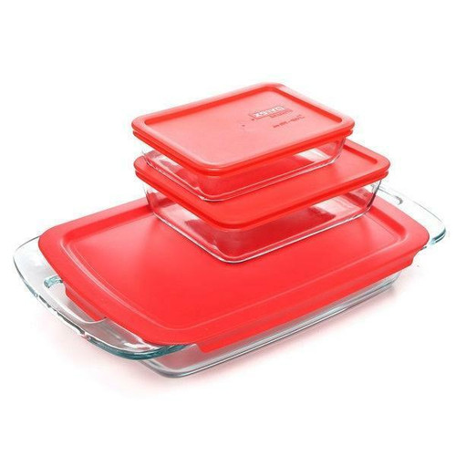 FastFurnishings 6-Piece Glass Bakeware Food Storage Set with Red Plastic Lids