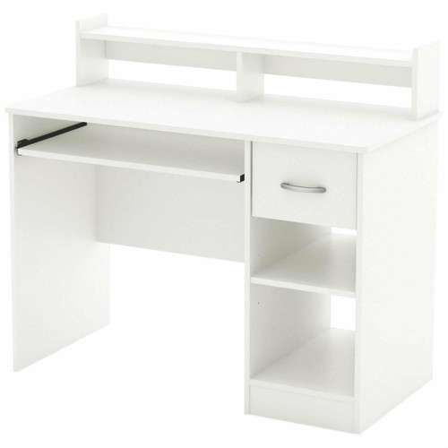 FastFurnishings Contemporary Home Office Computer Desk in White Wood Finish
