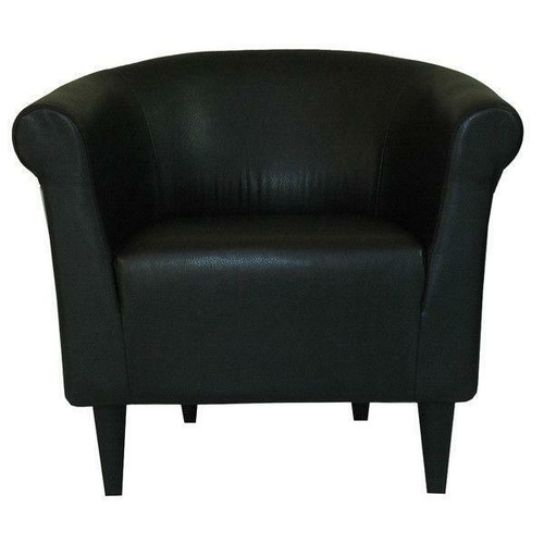 FastFurnishings Contemporary Classic Black Faux Leather Upholstered Club Chair