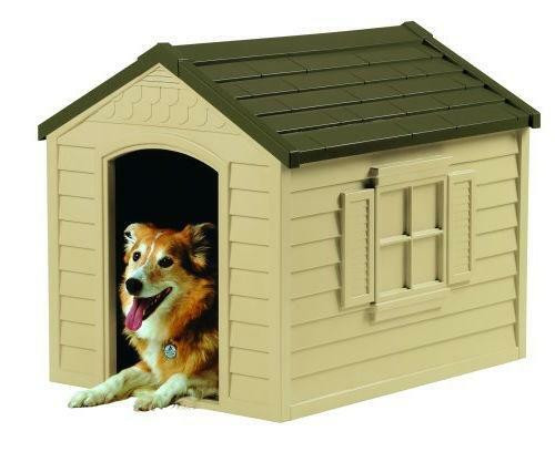 FastFurnishings Medium Size Outdoor Resin Construction Snap Together Dog House