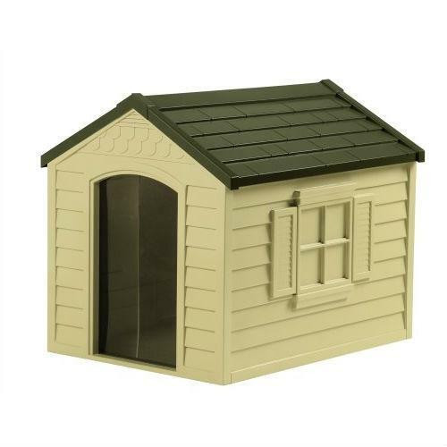 FastFurnishings Durable Outdoor Plastic Dog House in Taupe and Bronze - For Dogs up to 70 pounds