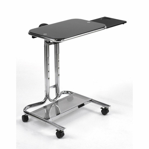 FastFurnishings Mobile Laptop Computer Desk Cart with Black Glass Top