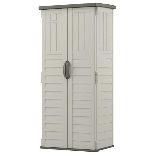 FastFurnishings Outdoor Heavy Duty 22 Cubic Ft Vertical Garden Storage Shed in Taupe Grey