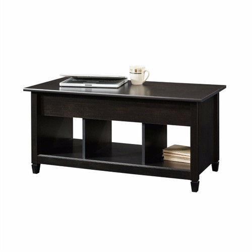 FastFurnishings Black Wood Finish Lift-Top Coffee Table with Bottom Storage Space