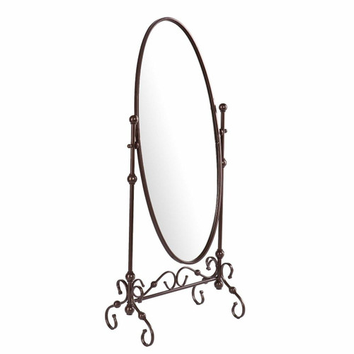 FastFurnishings Antique Bronze Finish Metal Cheval Floor Mirror