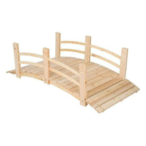 FastFurnishings 5-Ft Cedar Wood Garden Bridge with Railings in Natural Finish
