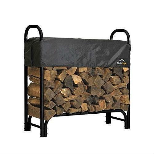 FastFurnishings Outdoor Firewood Rack 4-Ft Steel Frame Wood Log Storage with Cover