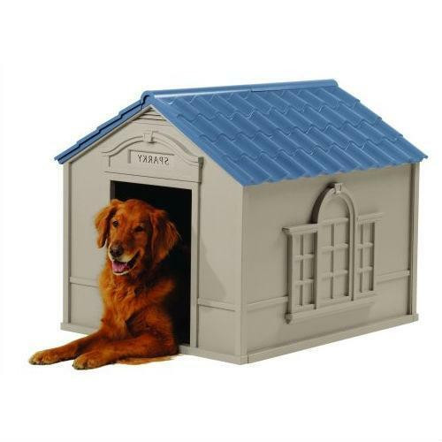 FastFurnishings Outdoor Dog House in Taupe and Blue Roof Durable Resin - For Dogs up to 100 lbs