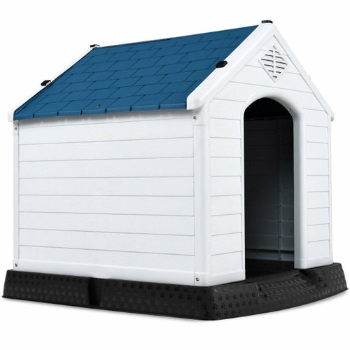 FastFurnishings Small Outdoor Heavy Duty Blue and White Plastic Dog House