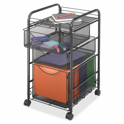 FastFurnishings Black Metal Steel Mesh Mobile Filing Cabinet Cart with 2 Drawers and Wheels
