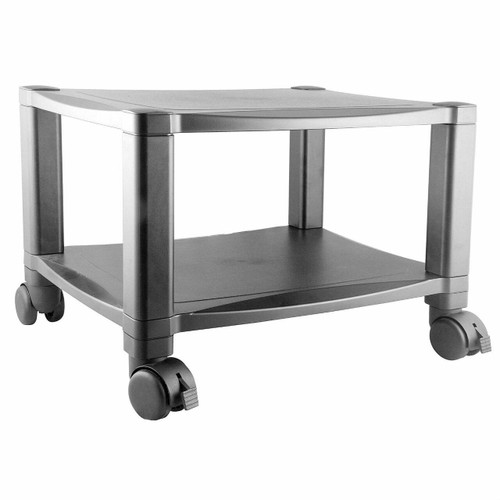 FastFurnishings Sturdy 2-Shelf Mobile Printer Stand Cart in Black with Locking Casters
