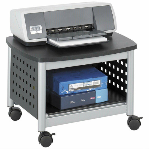 FastFurnishings Under-Desk Printer Stand Mobile Office Cart in Black and Silver