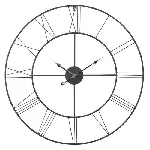 FastFurnishings Round 24-inch Metal Wall Clock with Roman Numerals