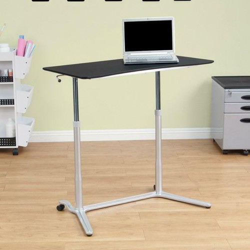 FastFurnishings Modern Ergonomic Sit Down Stand Up Desk in Black Finish