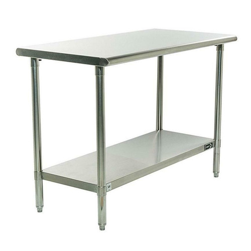 FastFurnishings Stainless Steel Top Food Safe Prep Table Utility Work Bench with Bottom Shelf