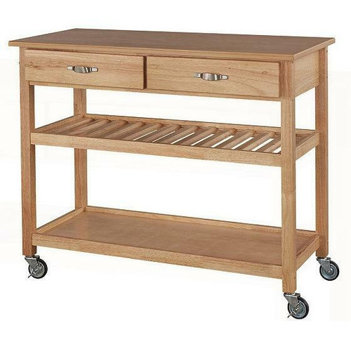 FastFurnishings Solid Wood Kitchen Cart with Heavy Duty Casters