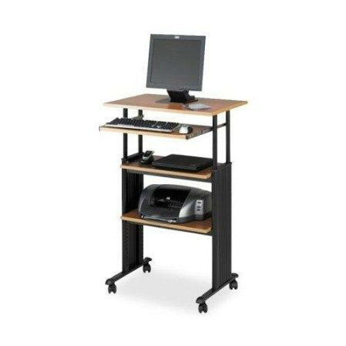FastFurnishings Adjustable Height Stand Up Office Desk in Medium Oak