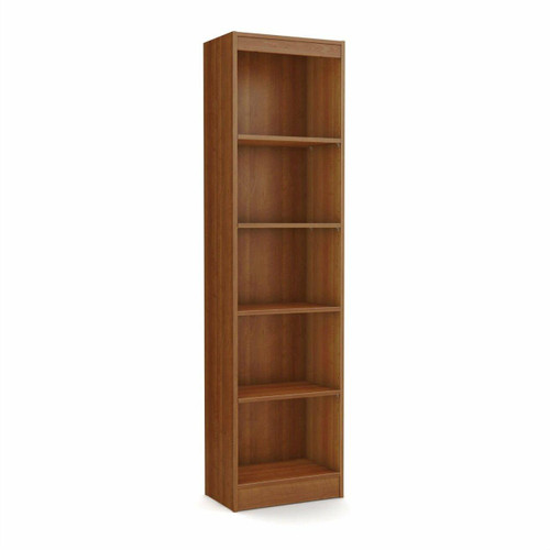 FastFurnishings Cherry Wood Finish 71-inch Tall Skinny 5-Shelf Space Saving Bookcase