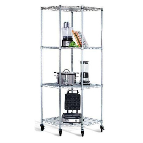 FastFurnishings Heavy Duty 4-Tier Corner Storage Rack Shelving Unit with Casters