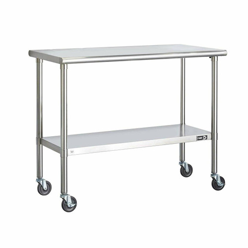 FastFurnishings Stainless Steel 2-ft Kitchen Island Cart Prep Table with Casters