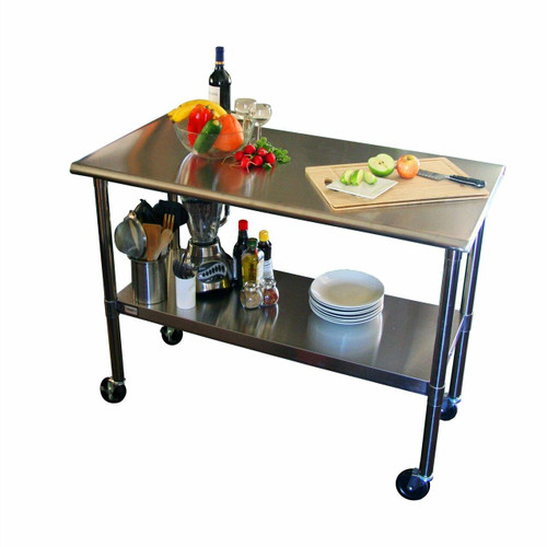 FastFurnishings 2ft x 4ft Stainless Steel Top Kitchen Prep Table with Locking Casters Wheels