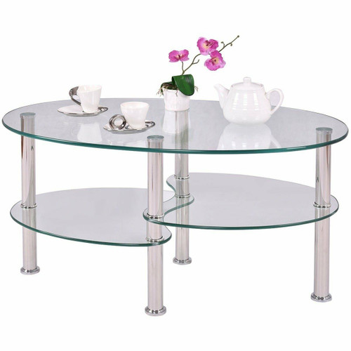 FastFurnishings Modern Oval Tempered Glass Coffee Table with Bottom Shelf