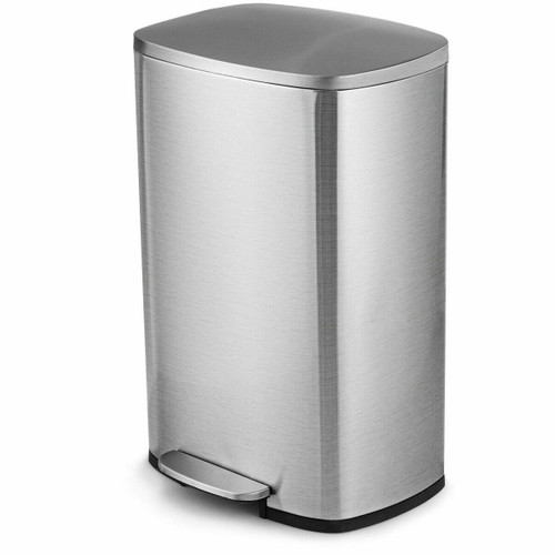 FastFurnishings 13-Gallon Modern Stainless Steel Kitchen Trash Can with Foot Step Pedal Design