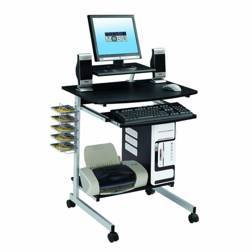 FastFurnishings Mobile Compact Computer Cart Desk with Keyboard Tray