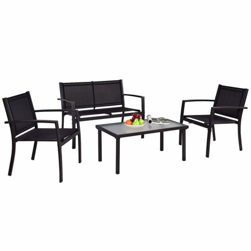FastFurnishings Modern 4-Piece Outdoor Patio Furniture Set with Sling Chairs and Coffee Table