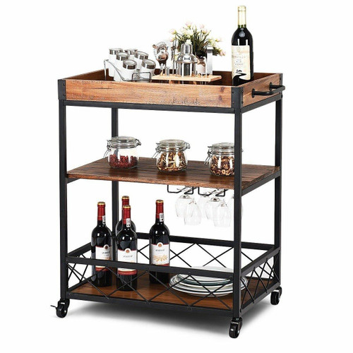 FastFurnishings Wood Iron Kitchen Cart with Removeable Tray Top and Wheels
