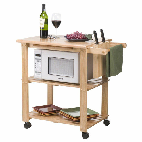 FastFurnishings Solid Wood Kitchen Utility Microwave Cart with Pull-Out Cutting Board