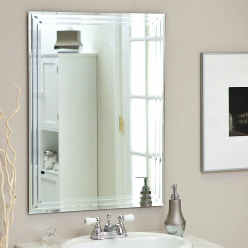 FastFurnishings Rectangular 31.5-inch Bathroom Vanity Wall Mirror with Triple-Bevel Design