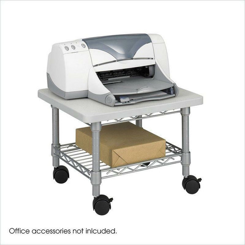 FastFurnishings Under Desk Printer Stand Cart with Paper Shelf and Locking Casters