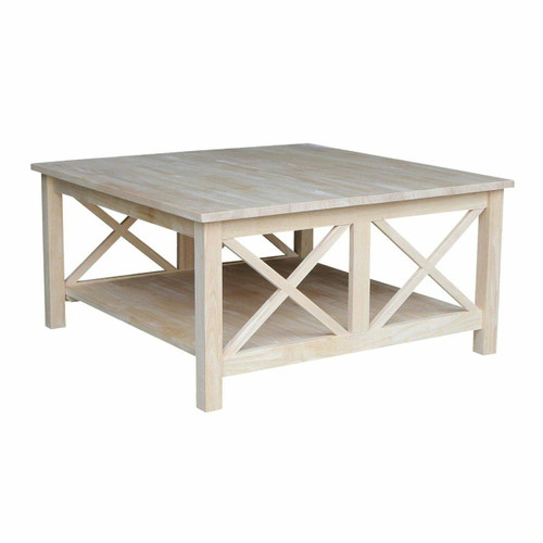 FastFurnishings Square Unfinished Solid Wood Coffee Table with Bottom Shelf