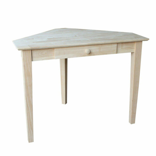 FastFurnishings Unfinished Wood Corner Desk Laptop Computer Writing Table with Drawer