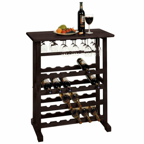 FastFurnishings 24-Bottle Wine Rack Table with Stemware Glass Hanging Rack
